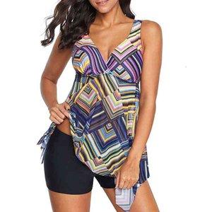 2020 Plus Size Two-piece Swimsuit Women Swimwear Tankini Set High Waist Dress Bathing Suits Boyshort Large Size Vintage