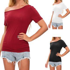Frauen Frauen Lässig vom T-Shirt Top Sexy Slant Shoulder Kurzarm Sommerhemd