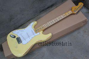 Qualité de la qualité F Stratocaster avec imitation synchronisée de l'ancienne signature jaune Guitare électrique gaucher à gauche @ 22