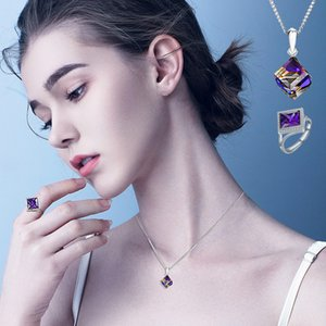 Amethyst Pendant Alloy Inlaid Zircon Ring Set Women's Necklace