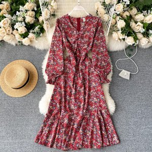 레이디 패션 꽃 인쇄 드레스 여성 빈티지 V 넥 레트로 긴 소매 얇은 높은 허리 우아한 Vestidos 의류 J23 캐주얼 드레스