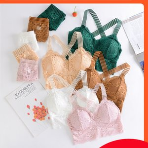 2020 spring and summer new style women's back anti walk light wrapped chest sexy lace with bra pad underwear