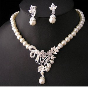 White Diamond Pearl Necklace Earrings Jewelry Set Bridesmaid Bridal Fine Wedding Dresses Accessories