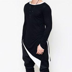 T Shirt Men's Long Sleeve Tee Homme Sharp Swag Hem Tshirt Streetwear Fashion Asymmetrical Men Side Extended Cloth