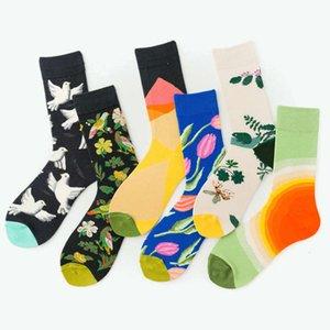Ins trendy plants, flowers and birds, white pigeons, miscellaneous medium long cotton socks, men's women's