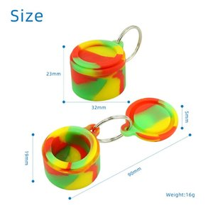 Keychain Attached Nonstick wax containers silicone box Smoking Accessories 6ml silicon jars dab tool Stash storage oil Rigs rubber holder