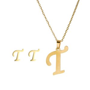 26 Letter Necklaces with earring set Stainless Steel Gold Choker Initial Pendant Necklace Women Alphabet Chains Jewelry 1124 Q2