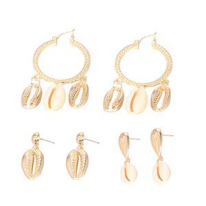 Pairs  set Stud Earring 2021 Europe Simple Cute Gold Beach Sea Shell Conch Shape Earrings Women Jewelry Gift