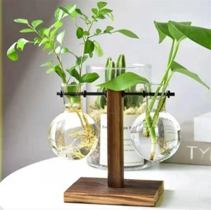 Terrarium Hydroponic Plant Vases Vintage Flower Pot Transparent Vase Wooden Frame Glass Tabletop Plants Home Bonsai Decor 510 R2