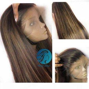 Miele Blonde Highlights Parrucca piena pizzo 150% Colorato Parrucche per capelli umani Prepulated Donne Nere Ombre Brown Long Dritto 30 pollici Remy