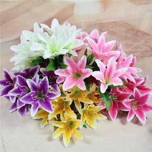Cm 9 Head Lily Silk Artificial Flowers Diy Wedding Bridal Bouquet Festival Party Home Table Decoration Vase Fake Decorative & Wreaths