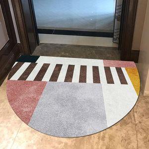 İskandinav Giriş Paspas Yarım Yuvarlak Geometrik Zebra Desen Kapı Mat Kaymaz Zemin Yatak Odası Banyo Ev Dekorasyonu Halılar Için