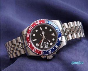 Mens assista relógio de pulso azul preto cerâmico bezel saco de aço inoxidável 116710 automático gmt movimento limitado watchh jubileu relógios mestre