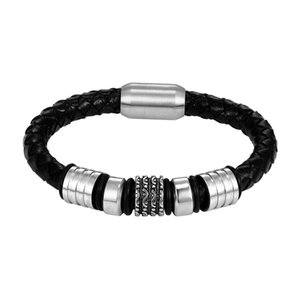 Charm Bracelets Two Styles Multi Size Men Jewelry Handmade Vintage Mens Leather Bracelet Stainless Steel Magnetic Clasp Gift Pulseras