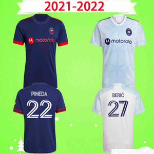 2021 2022 Chicago Soccer Jerseys Fire FC Home Away Blue Blanc MLS 21 22 Pineda Beric Medran Sapong Frankowski Calvo Chemise de football Calvo Top