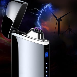 USB Charge Electric Lighter Finger Print Touch Fire Plasma Double Arc Windproof Metal Cigarette Lighters Men Gifts Wholesale DBC BH4715
