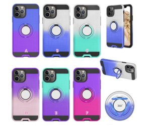 360 Car Holder Finger Ring Bracket PC+TPU Cases For Samsung Galaxy A91 A81 A71 A51 A21 Shockproof Hybrid Defender Gradient Phone Skin Cover