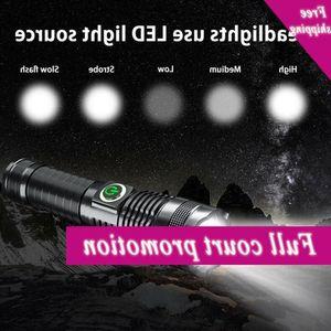 The New Pocket lamp P50 Light Zoom Battery Display Lighting Bright Usb Flashligh Outdoor Multi-Fun W8Y3