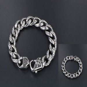 Retro Man Bracelet Woven Chain Leopard Print Titanium Steel Cast Personality Fashion Lobster Clasp Holiday Gift