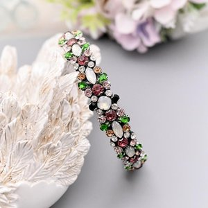 Headpieces Colorful Diamonds Baroque Headbands Opal Wedding Hair Accessories Crystal Headband For Women Bridal Hairband Daily Headhoop