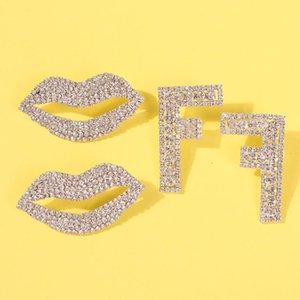 Jouval Luxury Crystal Big Mouth Lips F Letter Stud Earrings For Women Punk Rhinestone Ear Studs Female Fashion Jewelry Brincos