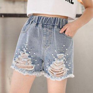 Шорты Девушки Летние 2021 Девочка Девочка-подросток Жемчужина Свободные джинсы Короткие Детская Одежда 8 10 12 14 Вы
