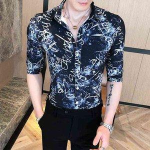 الرجال النمط البريطاني قميص camisa الغمد عارضة يتأهل نصف كم قمصان الرجال اللباس الذكور الملابس الشارع الشهير بلوزة الاجتماعية