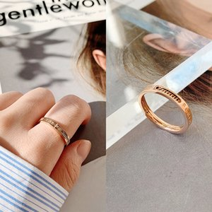 Letter chain ring titanium steel 18k rose gold plating does not fade women's Korean style couple ring NEW