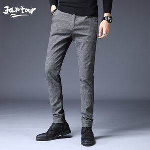 Stretch Casual Pants Men Autumn Winter High Quality Business thick Plaid Men's Straight warm Trousers Pant