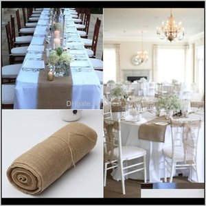 Runner Cloths Textiles Garden Drop Delivery 2021 Linen Roll Tablecloth Hessian Burlap True Colors 30Cm10M Chair Back Wedding Celebration Deco