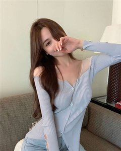 Early autumn 2020 new sexy slim V-neck lightweight mesh stitching knitted shirt niche top cardigan