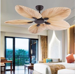 New High Quality Manufacture Factory Price Natural Breeze Palm Leaf Fan Blades 220V Remote Control Ceiling Fan Living Room
