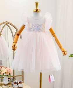 Girls sequins princess dresses 2021 sweet summer kids bling lace fly sleeve tulle tutu dress children's day gauze party clothing V547