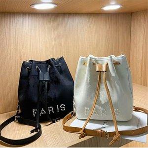 Manmade Pearl Letter Handbags Women Girls Canvas One Shoulder Bags Book Tote Fashion Designer Shopping Storage Bag Large Capacity Handbag