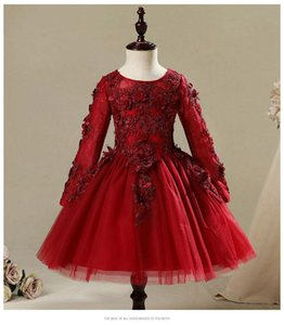 Baby Girl Dresses For Wedding Party Beaded Appliques Red Lace Christening Gown Infant Born 1st Birthday Dress Baptism Girl's