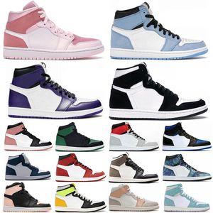1 Üniversite Mavi Hiper Kraliyet Büküm Chicago Basketbol Ayakkabı Erkekler 1 S MID Milan Dijital Pembe Yelken Patent Bred Toe Kadınlar Mahkemesi Mor Sneakers