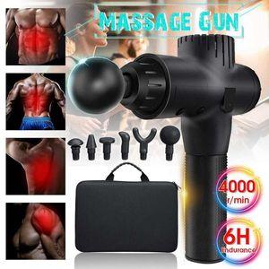 6 Köpfe Therapie Massage Gun Perkussive Vibration Muskel Massager Sport Erholung Fitnessgeräte Körper Entspannung Unisex TSLM1 CY200516