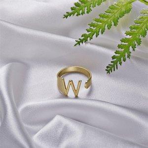Rinhoo Novo Ajustável Aberto Chunky A para Z Letter Anéis Significativos Anéis Iniciais Anéis Jóias Presente Para As Mulheres 692 T2