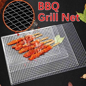 Square BBQ Grill Mesh Mat 304 Stainless Steel Grill Wire Mesh Outdoor Camping Pot Rack Korean Barbecue Non-stick Grilling Mats 210724