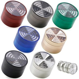 Four-layer Tobacco Smoke Accessories Zinc Alloy Transparent Cover Grinding Herb HH21-296