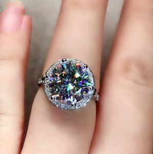 Rulalei Handmade High Quality Luxury Jewelry 925 Sterling Silver Dove Egg Round Cut White Topaz CZ Diamond Gemstones Eternity Women Wedding Engagement Band Ring