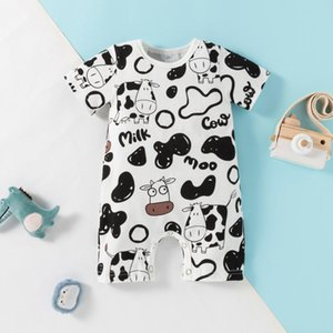 Baby Clothes Boys Girls Romper Infant Cartoon Cow Letter Short Sleeve Jumpsuit 2021 Rompers