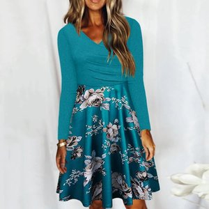 Casual Dresses Women Plus Size Autumn Printed Long-sleeved Mini Dress Low-cut Sexy Fall Clothes For Robe Vestido