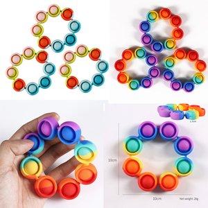 Fidget Pulsera de juguete Anti estrés TOYS TOYS RAINBOW Push Bubble Antistress para adultos Los niños alivian las necesidades del autismo