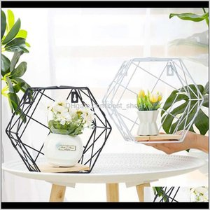 Decorative Objects Figurines Wrought Iron Hexagonal Grid Shelf Nordic Style Combination Hanging Geometric Figure Wall Decoration For L Fbdwl