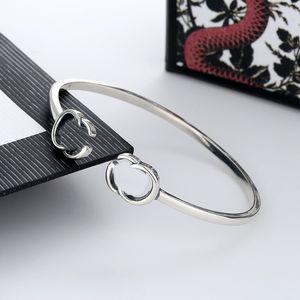 Letter Bracelet Opening Adjustable Size Bracelet High Quality Silver Plated Bangle for Unisex Charm Fashion Jewelry
