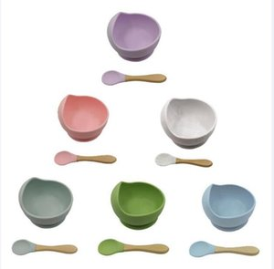 Baby Silicone Bowl Spoon Maternal Infant Feeding Cutlery Suction Cup Complementary Food Drop Proof Set GWA4894