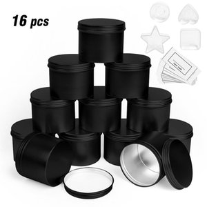 Round Metal Tin Box Candle Black Aluminum Jar Storage Empty Pot Plain Screw Top Cans Cream Cosmetic Container Gold Silver