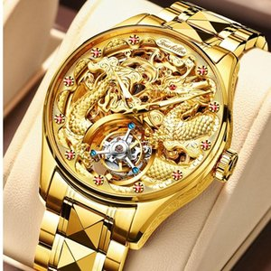 Роскошные подлинные турбийон Алмазные механические мужские часы скелет светящиеся сапфировые мужчины бизнес из нержавеющей стали наручные часы