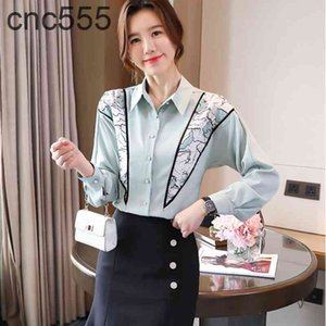 Blouse Plus Size Shirts Korean Long Sleeve Chiffon Patchwork Print Tops 2021 Spring Casual Elegant Lady Polo Neck Loose Clothing
